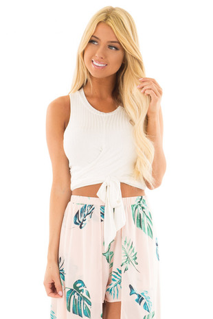 Ivory Short Sleeve Wrap Around Crop Top front clsoe up