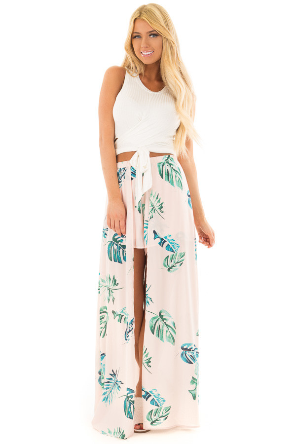 Ivory Short Sleeve Wrap Around Crop Top front full body