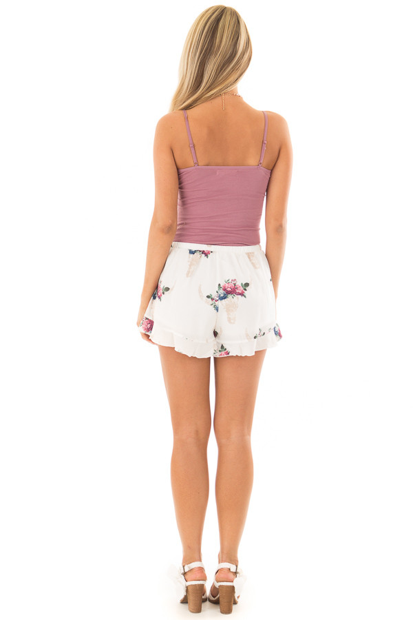 Off White Shorts with Floral Bullhead Print back full body
