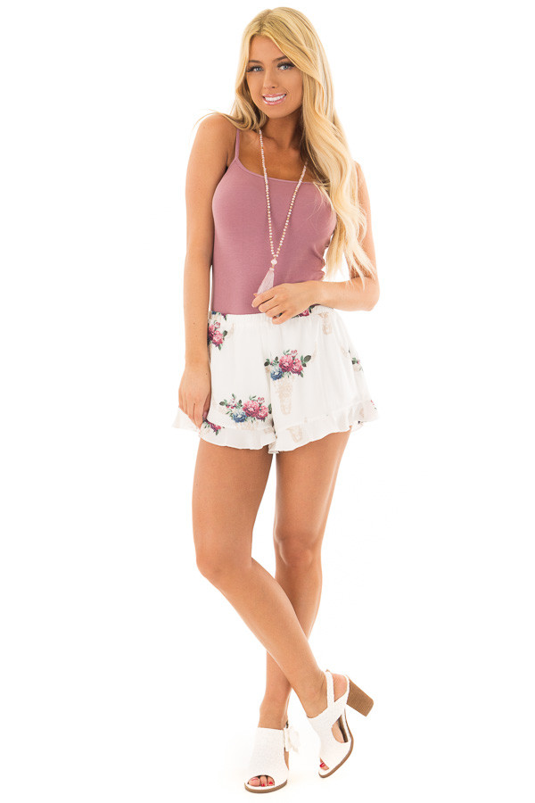 Off White Shorts with Floral Bullhead Print front full body