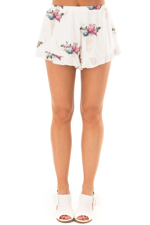 Off White Shorts with Floral Bullhead Print front view