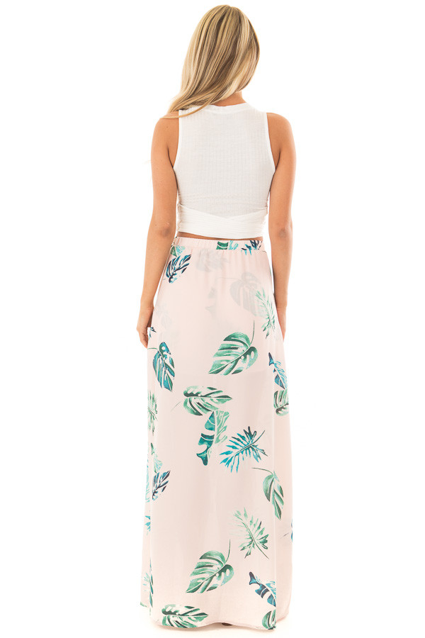 Blush Tropical Print Shorts with Flowy Attached Skirt back full body