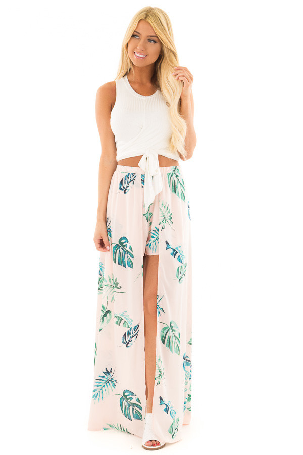 Blush Tropical Print Shorts with Flowy Attached Skirt front full body