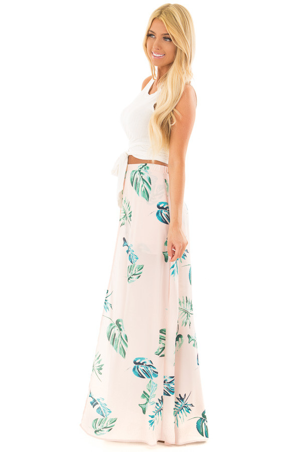 Blush Tropical Print Shorts with Flowy Attached Skirt side full body