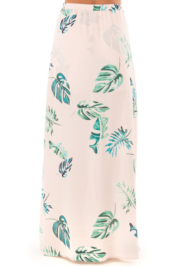 Blush Tropical Print Shorts with Flowy Attached Skirt back view