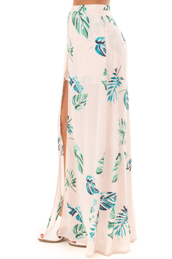 Blush Tropical Print Shorts with Flowy Attached Skirt side view