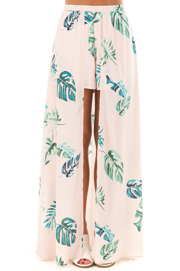 Blush Tropical Print Shorts with Flowy Attached Skirt front view