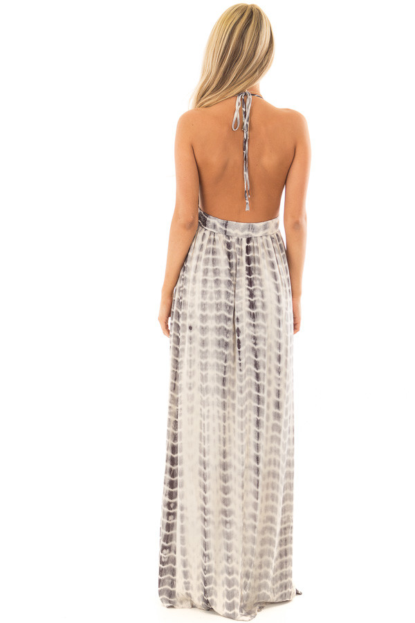 Grey Tie Dye Halter Top Maxi Dress with Plunge Neckline back full body