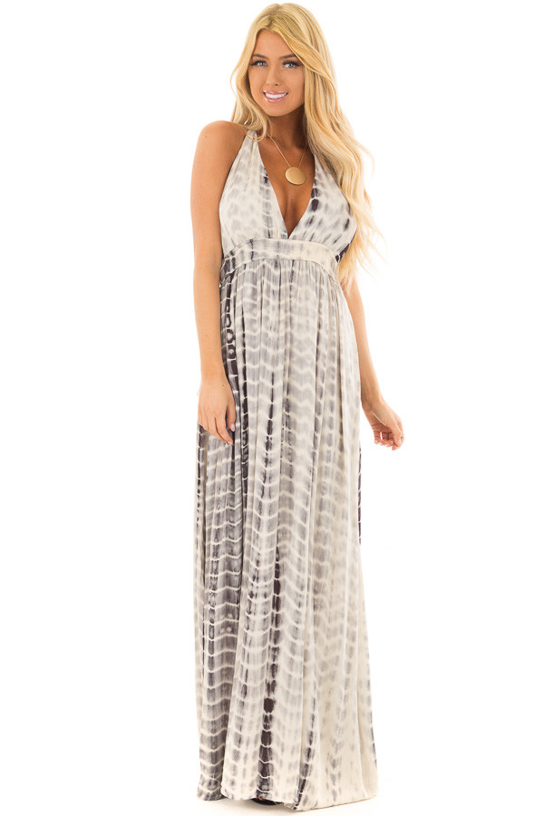 Grey Tie Dye Halter Top Maxi Dress with Plunge Neckline front close up