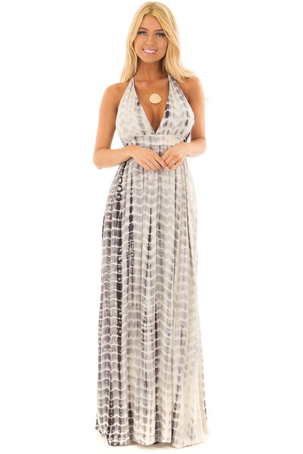 Grey Tie Dye Halter Top Maxi Dress with Plunge Neckline front full body