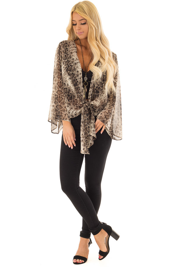 Taupe Snake Print Sheer Top with Front Tie Detail front full body