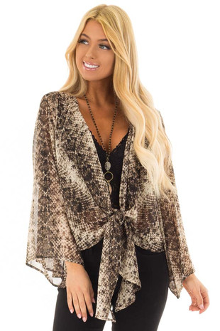 Taupe Snake Print Sheer Top with Front Tie Detail front close up