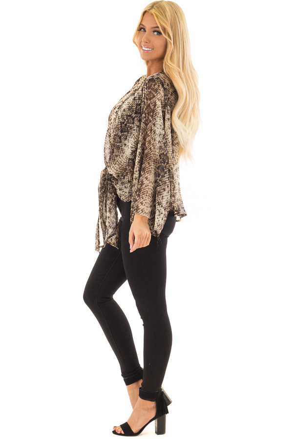 Taupe Snake Print Sheer Top with Front Tie Detail side full body