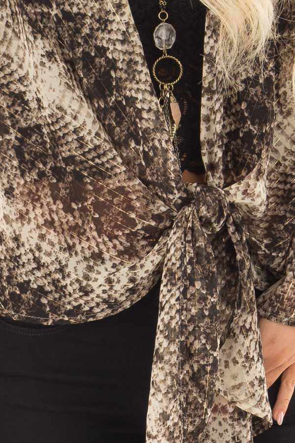 Taupe Snake Print Sheer Top with Front Tie Detail detail