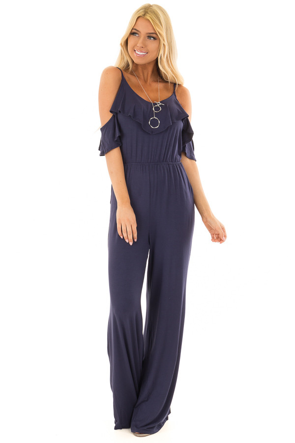 Navy Cold Shoulder Jumpsuit with Side Pockets front full body