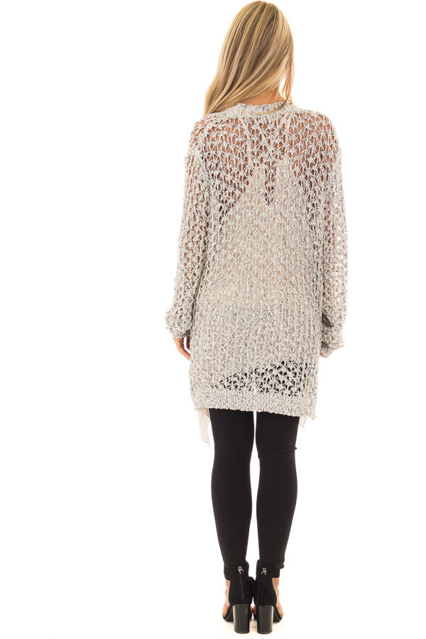 Black and Ivory Loose Knit Cardigan back full body