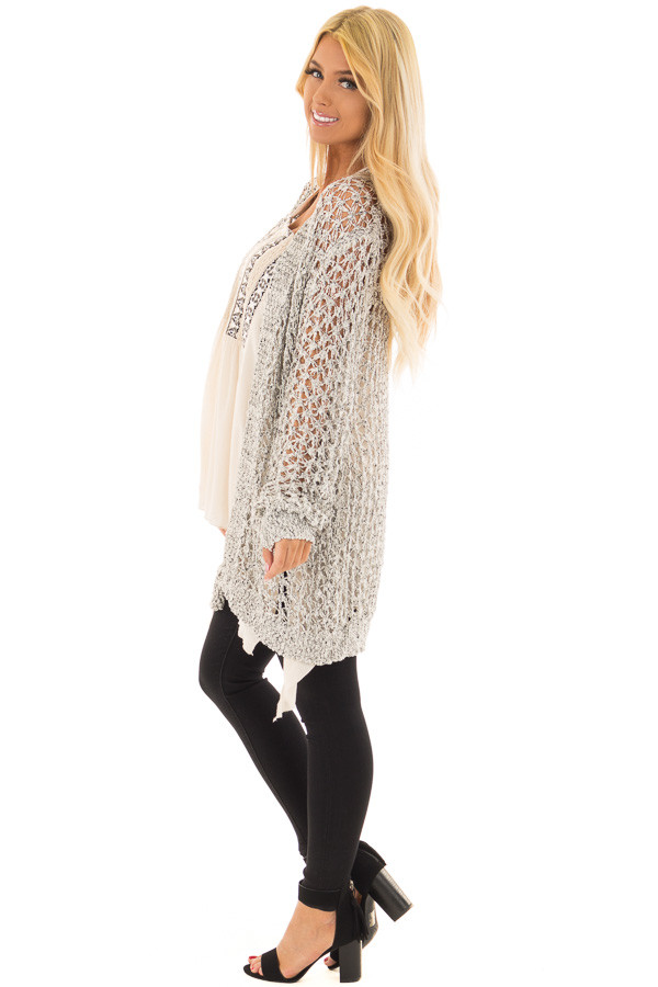 Black and Ivory Loose Knit Cardigan side full body