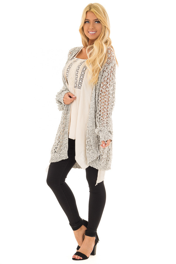 Black and Ivory Loose Knit Cardigan front full body