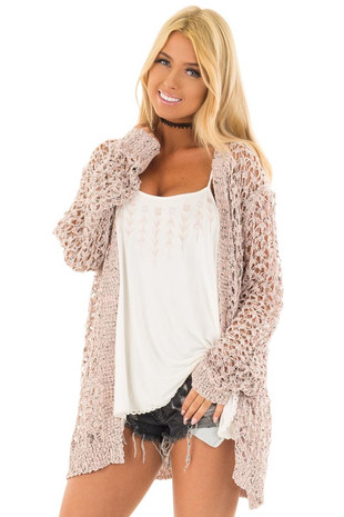 Dusty Pink Two Tone Loose Knit Cardigan front close up
