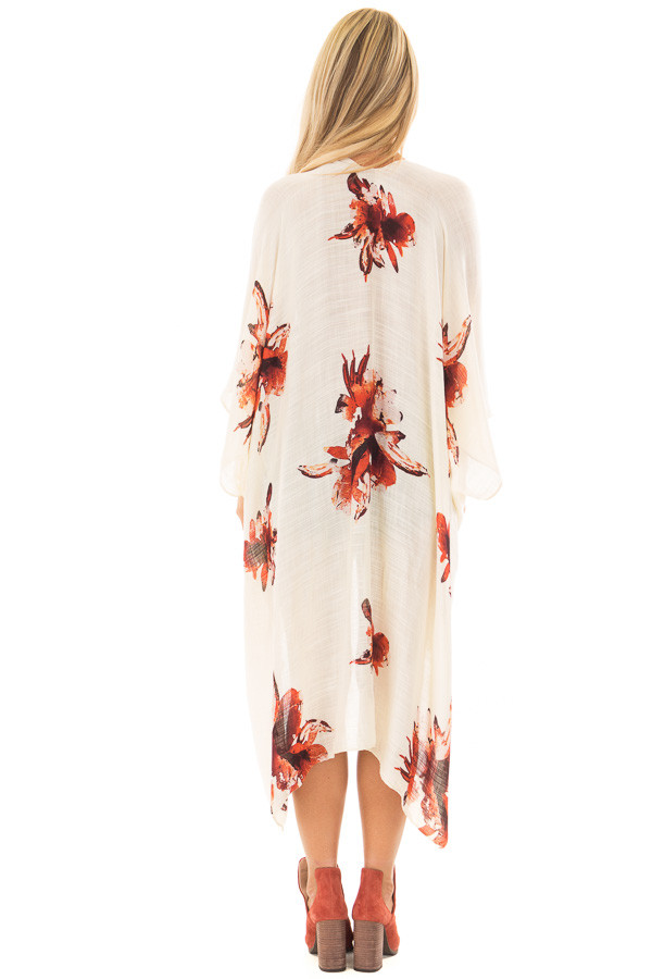 Cream and Rust Floral Print Long Linen Kimono back full body