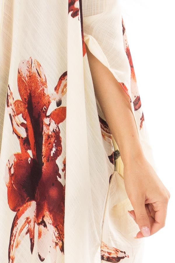 Cream and Rust Floral Print Long Linen Kimono detail