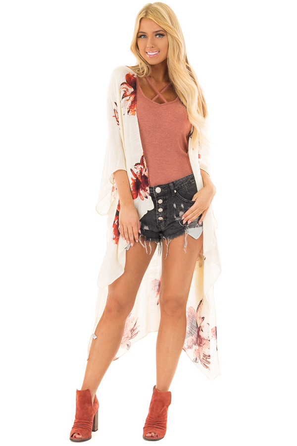 Cream and Rust Floral Print Long Linen Kimono front full body