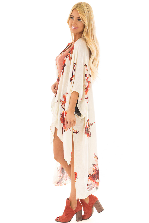 Cream and Rust Floral Print Long Linen Kimono side full body
