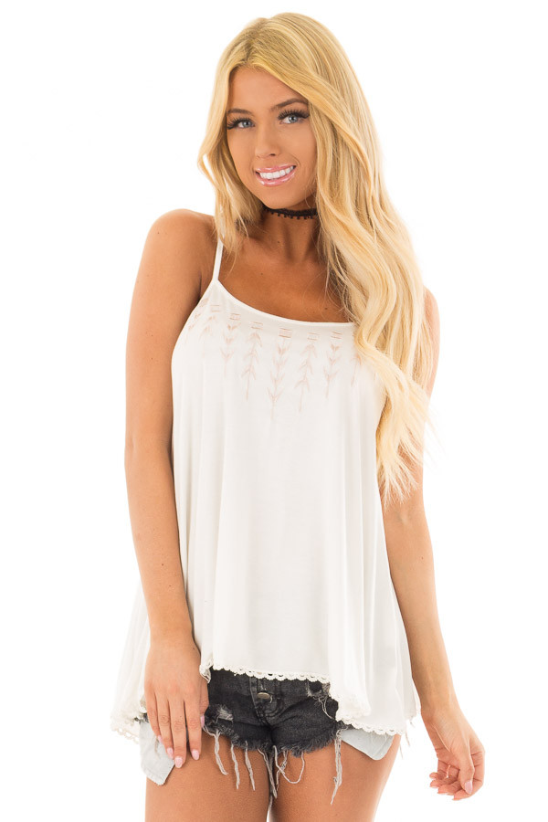 Ivory Lace Up Tank Top with Embroidery Detail front close up