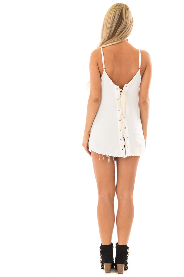 Ivory Lace Up Tank Top with Embroidery Detail back full body
