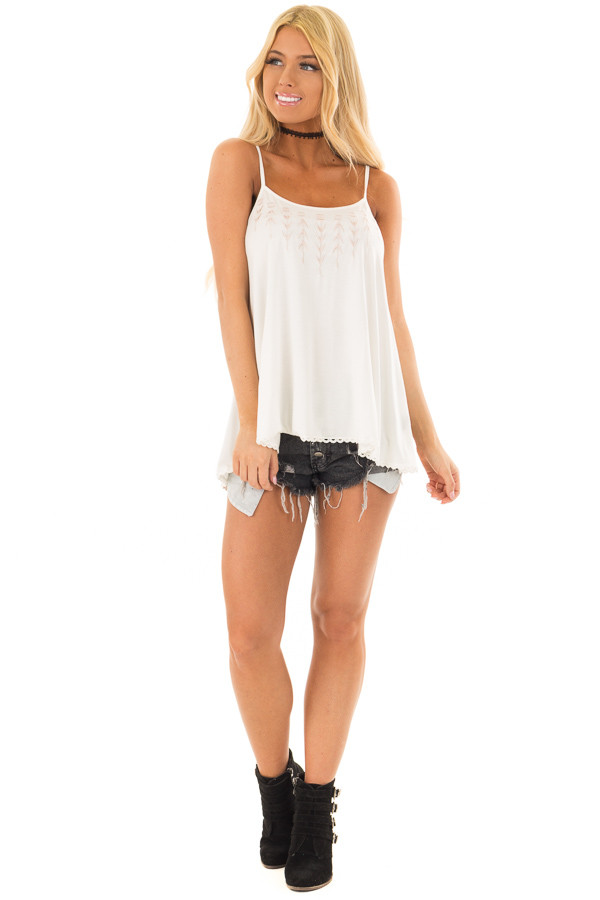 Ivory Lace Up Tank Top with Embroidery Detail front full body