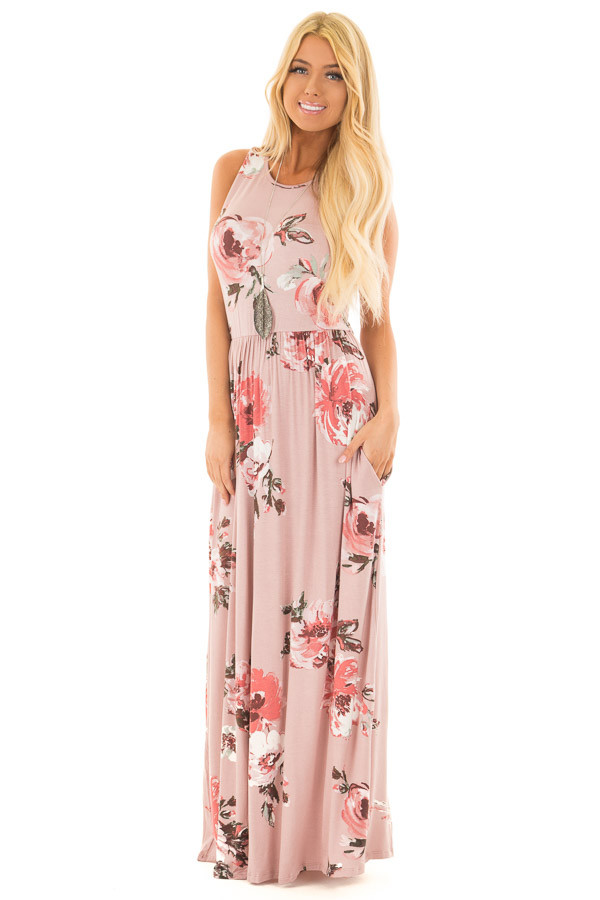 Mauve Floral Print Tank Maxi Dress with Pockets front full body