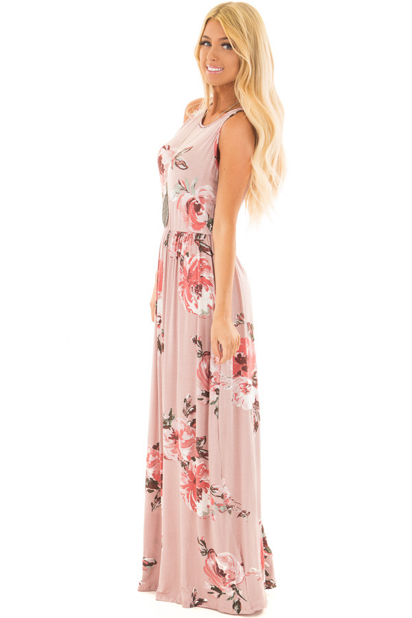Mauve Floral Print Tank Maxi Dress with Pockets side full body