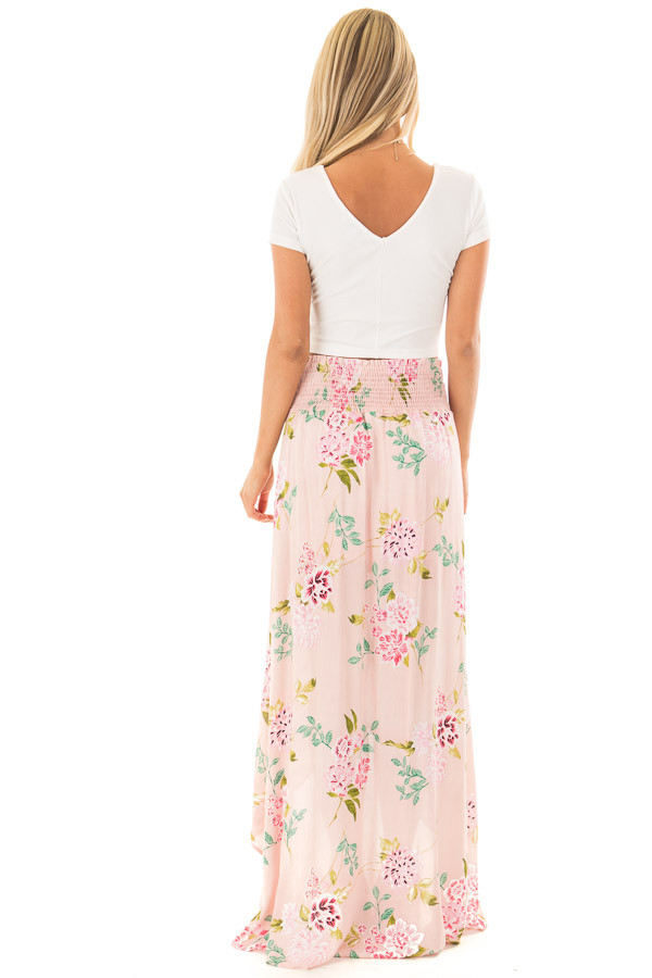 Blush Floral Print Maxi Skirt with Smocked Waist back full body