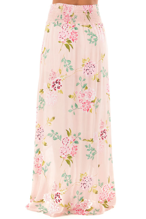 Blush Floral Print Maxi Skirt with Smocked Waist back view