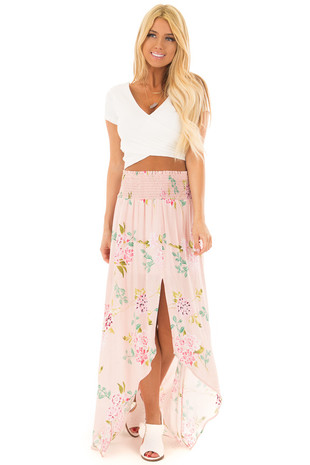 Blush Floral Print Maxi Skirt with Smocked Waist front full body