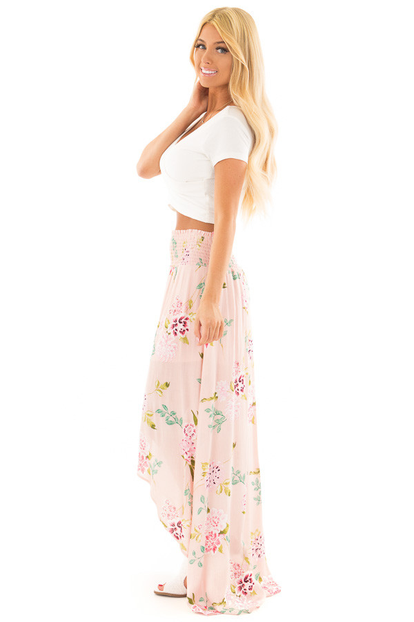 Blush Floral Print Maxi Skirt with Smocked Waist side full body
