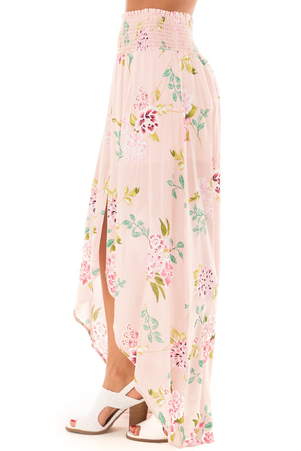 Blush Floral Print Maxi Skirt with Smocked Waist side view