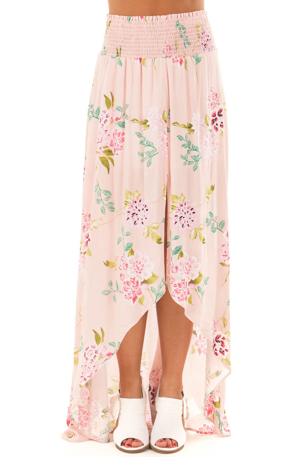 Blush Floral Print Maxi Skirt with Smocked Waist front view