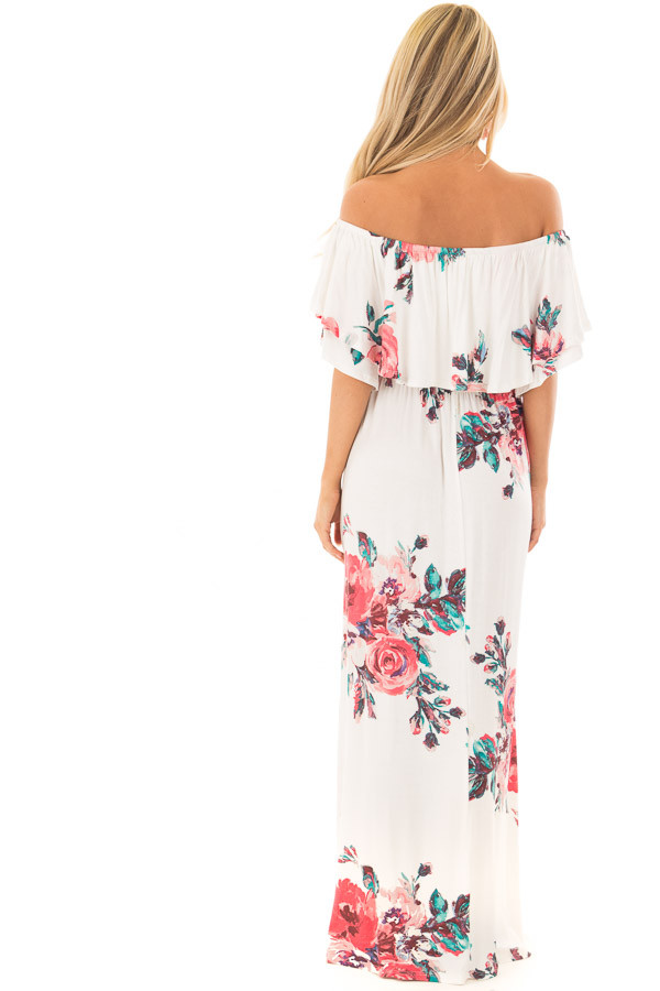 Ivory Floral Print Layered Off the Shoulder Maxi Dress back full body