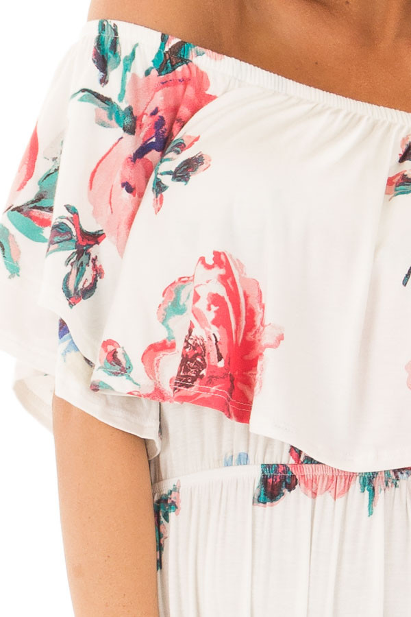 Ivory Floral Print Layered Off the Shoulder Maxi Dress detail
