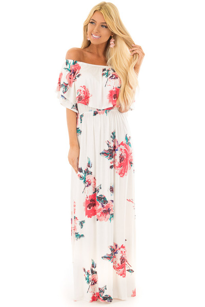 Ivory Floral Print Layered Off the Shoulder Maxi Dress front full body
