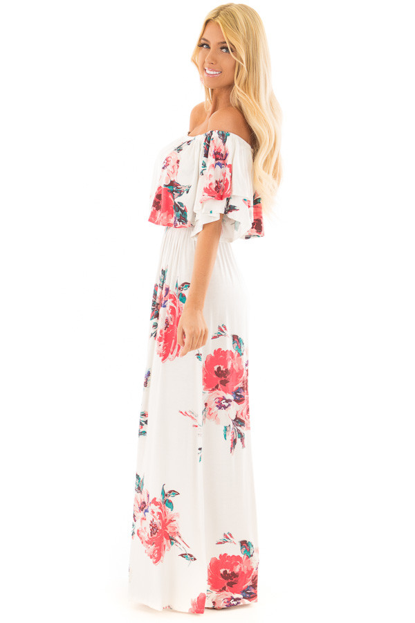 Ivory Floral Print Layered Off the Shoulder Maxi Dress side full body