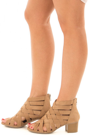 Tan Faux Suede Criss Cross Sandal Heels side view