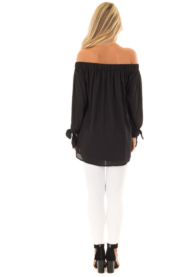 Black Off the Shoulder Chiffon Blouse Top back full body