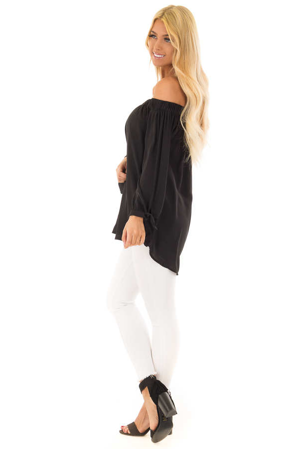 Black Off the Shoulder Chiffon Blouse Top side full body