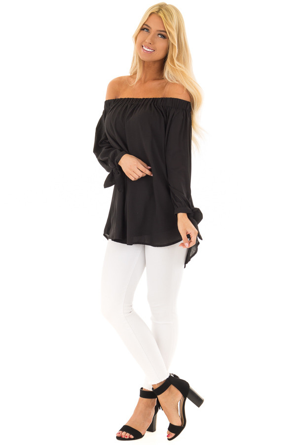 Black Off the Shoulder Chiffon Blouse Top front full body