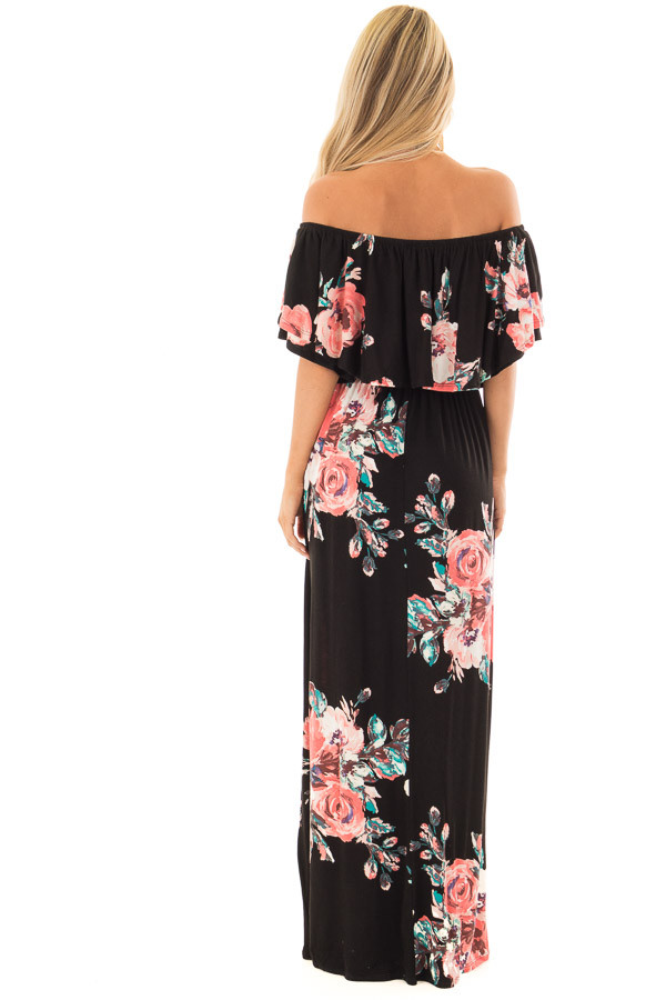 Black Floral Print Layered Off the Shoulder Maxi Dress back full body