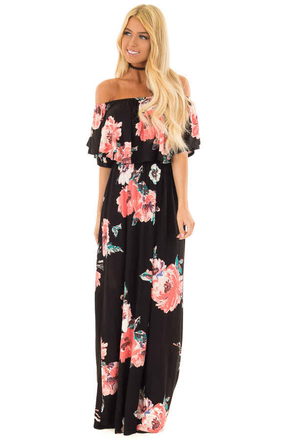 Black Floral Print Layered Off the Shoulder Maxi Dress front full body