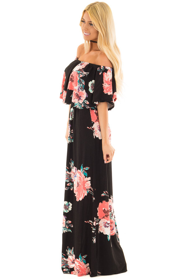 Black Floral Print Layered Off the Shoulder Maxi Dress side full body