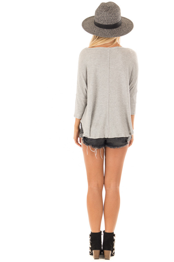 Heather Grey Waffle Knit Button Up Top with Front Tie Detail back full body
